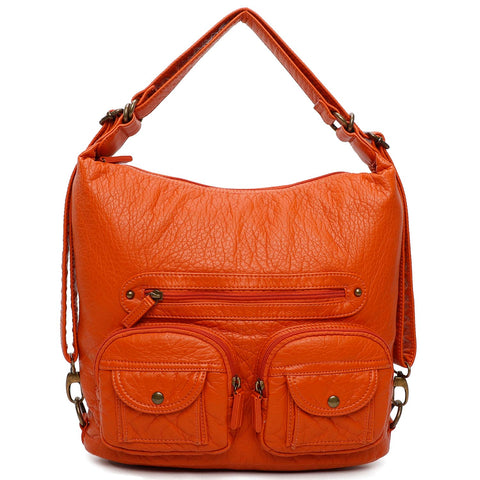 Convertible Crossbody Backpack - Orange