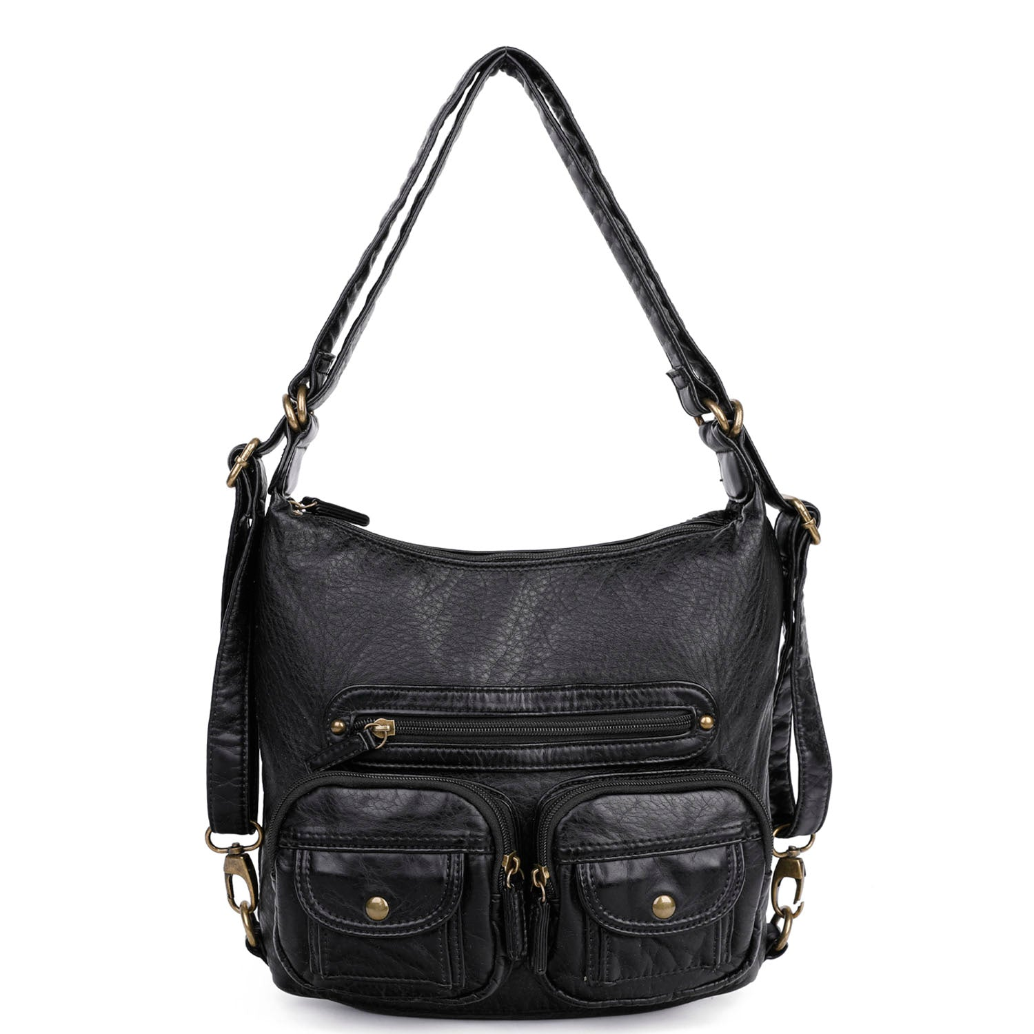 Vegan Leather Convertible Backpack /& Crossbody Bag Purse by Ampere Creations