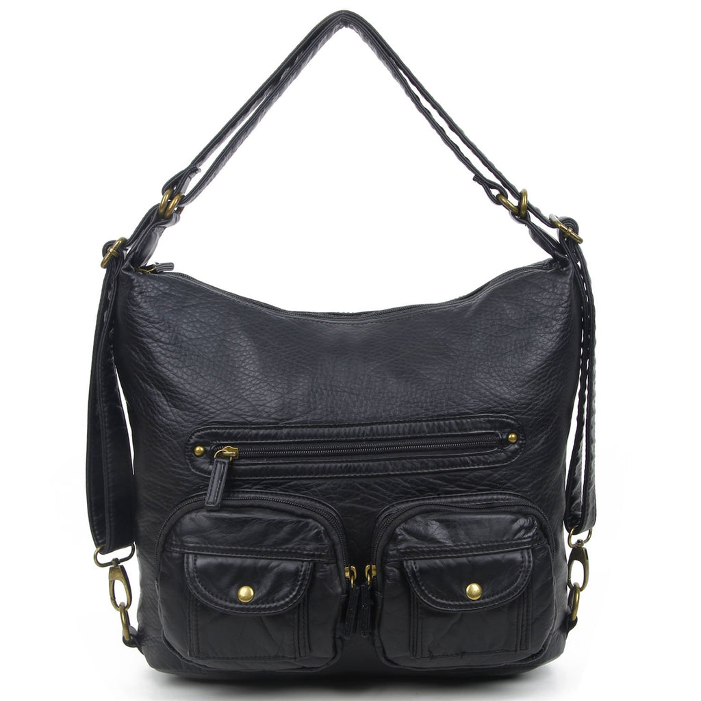 Convertible Crossbody Backpack - Black - Ampere Creations
