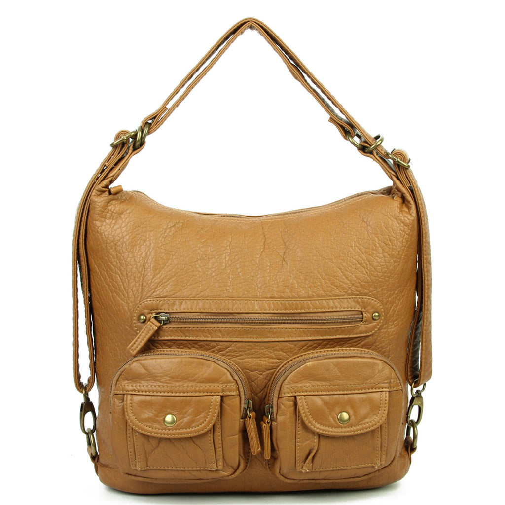 Convertible Crossbody Backpack - Brown - Ampere Creations