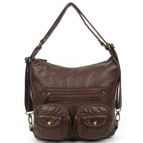 Convertible Crossbody Backpack - Chocolate Brown - Ampere Creations