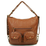 Convertible Crossbody Backpack - Dark Brown - Ampere Creations