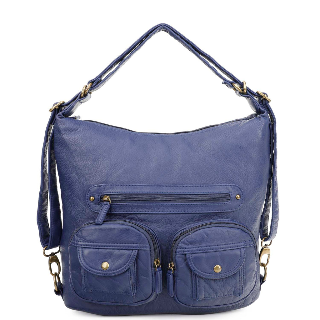 Convertible Crossbody Backpack - Navy Blue - Ampere Creations