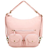Convertible Crossbody Backpack - Petal Pink - Ampere Creations