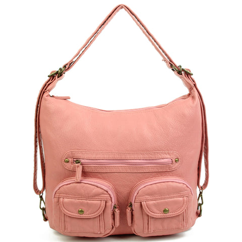 Convertible Crossbody Backpack - Rose Pink - Ampere Creations