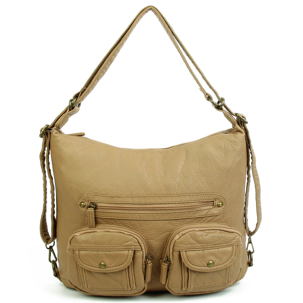 Convertible Crossbody Backpack - Sand - Ampere Creations