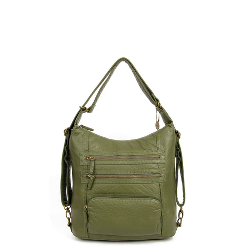 The Lisa Convertible Backpack Crossbody - Army Green - Ampere Creations