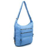 The Lisa Convertible Backpack Crossbody - Baby Blue - Ampere Creations