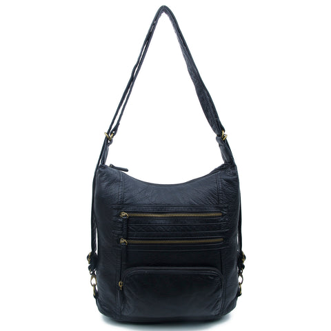 The Lisa Convertible Backpack Crossbody - Black - Ampere Creations