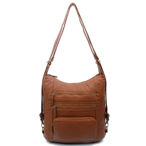 The Lisa Convertible Backpack Crossbody - Brown - Ampere Creations