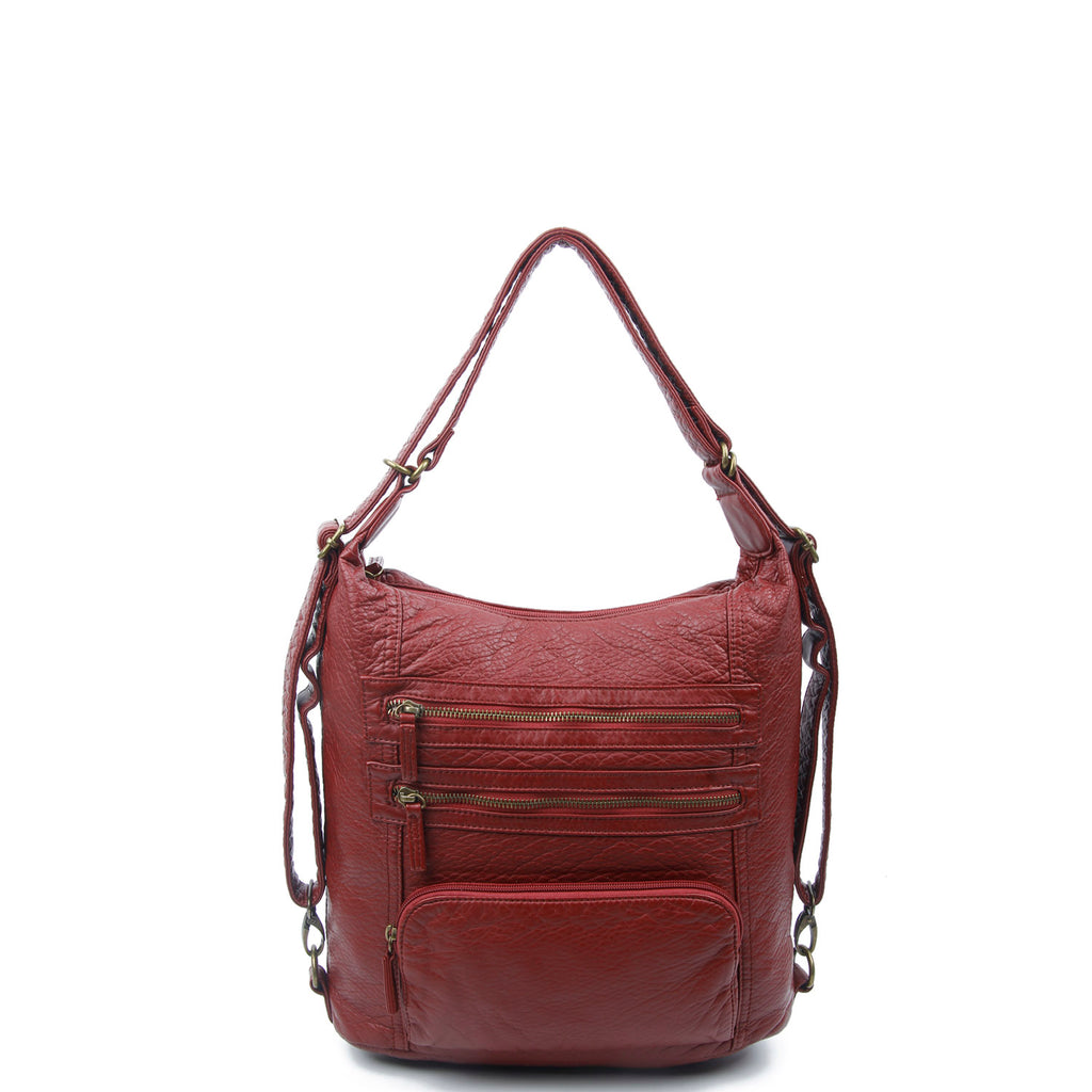 The Lisa Convertible Backpack Crossbody - Burgundy - Ampere Creations