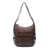 The Lisa Convertible Backpack Crossbody - Chocolate Brown - Ampere Creations