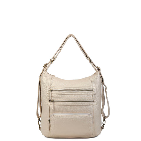 The Lisa Convertible Backpack Crossbody - Champagne - Ampere Creations