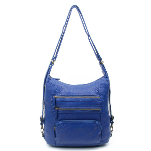 The Lisa Convertible Backpack Crossbody - Navy Blue - Ampere Creations