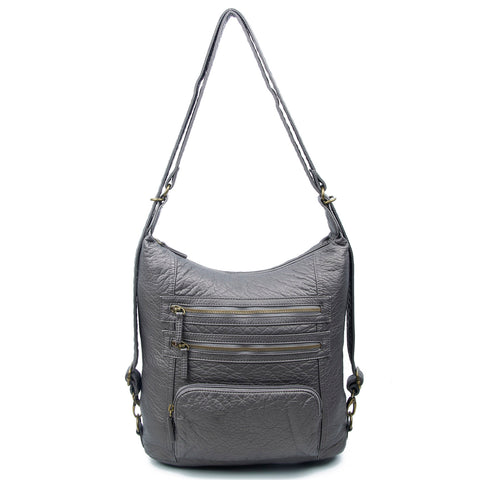 The Lisa Convertible Backpack Crossbody - Dark Silver - Ampere Creations