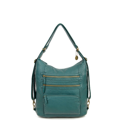 The Lisa Convertible Backpack Crossbody - Forest Green - Ampere Creations