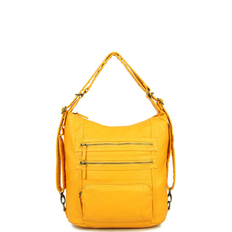 The Lisa Convertible Backpack Crossbody - Honey Mustard - Ampere Creations