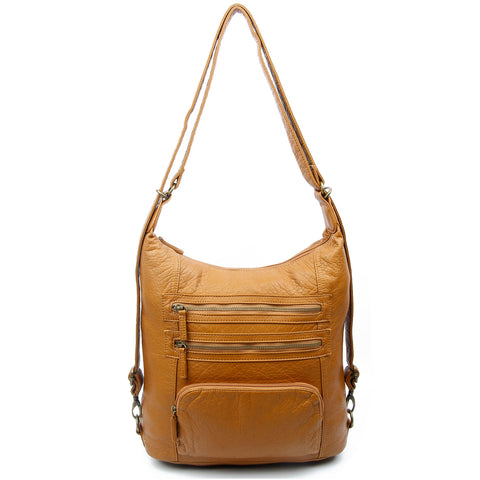 The Lisa Convertible Backpack Crossbody - Light Brown - Ampere Creations