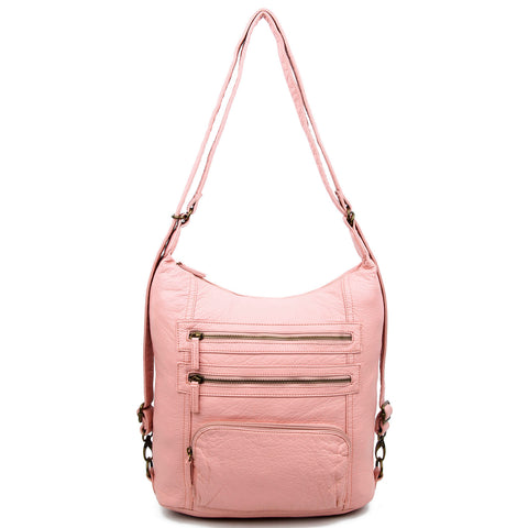 The Lisa Convertible Backpack Crossbody - Petal Pink - Ampere Creations
