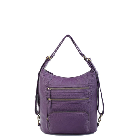 The Lisa Convertible Backpack Crossbody - Purple - Ampere Creations