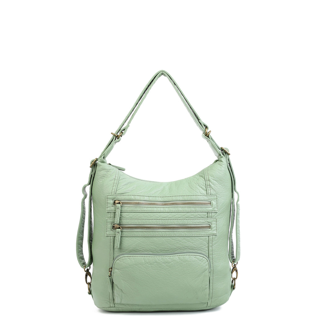 The Lisa Convertible Backpack Crossbody - Seafoam Green - Ampere Creations