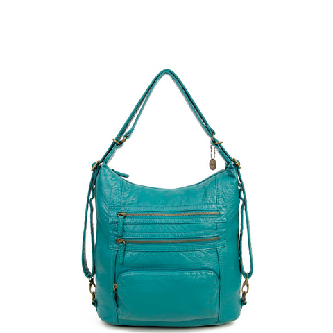 The Lisa Convertible Backpack Crossbody - Teal - Ampere Creations