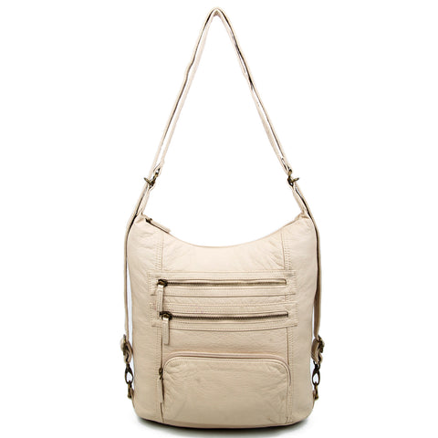 The Lisa Convertible Backpack Crossbody - Taupe - Ampere Creations