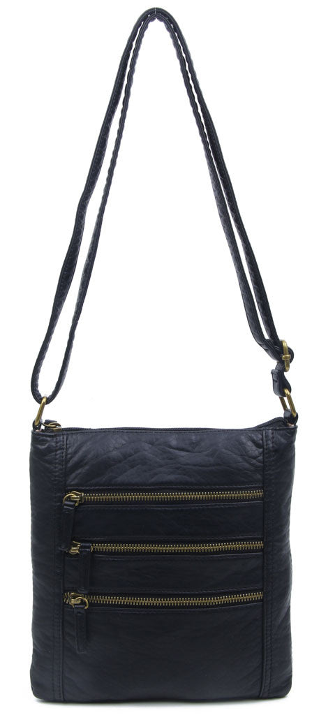 The Camile Three Zip Crossbody - Black - Ampere Creations