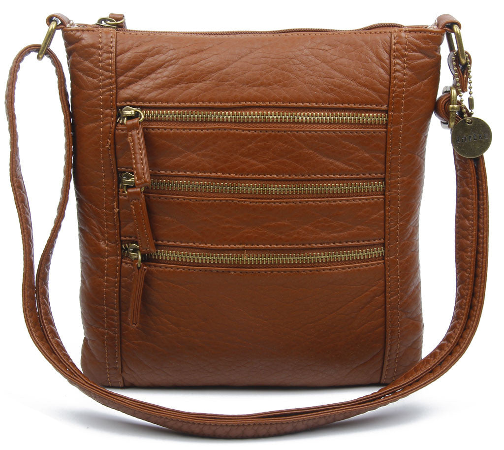The Camile Three Zip Crossbody - Brown