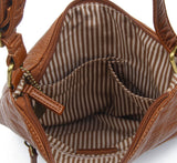 The Camile Three Zip Crossbody - Brown - Ampere Creations