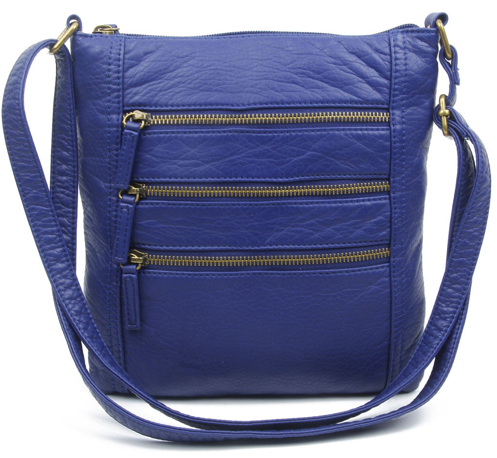 The Camile Three Zip Crossbody - Navy Blue