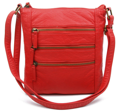 The Camile Three Zip Crossbody - Poppy Red