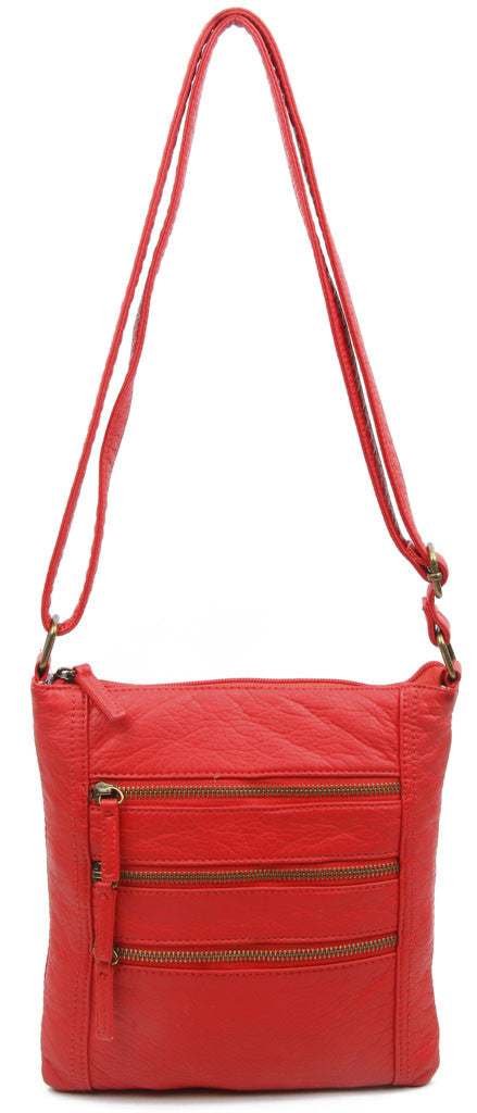 The Camile Three Zip Crossbody - Poppy Red - Ampere Creations