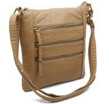 The Camile Three Zip Crossbody - Sand - Ampere Creations