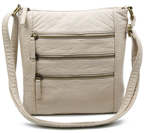 The Camile Three Zip Crossbody - Taupe
