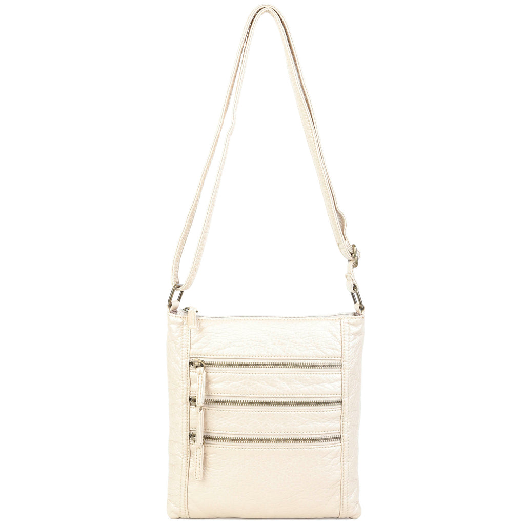 The Camile Three Zip Crossbody - Champagne - Ampere Creations