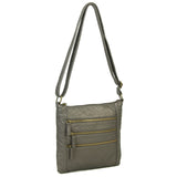 The Camile Three Zip Crossbody - Dark Silver - Ampere Creations