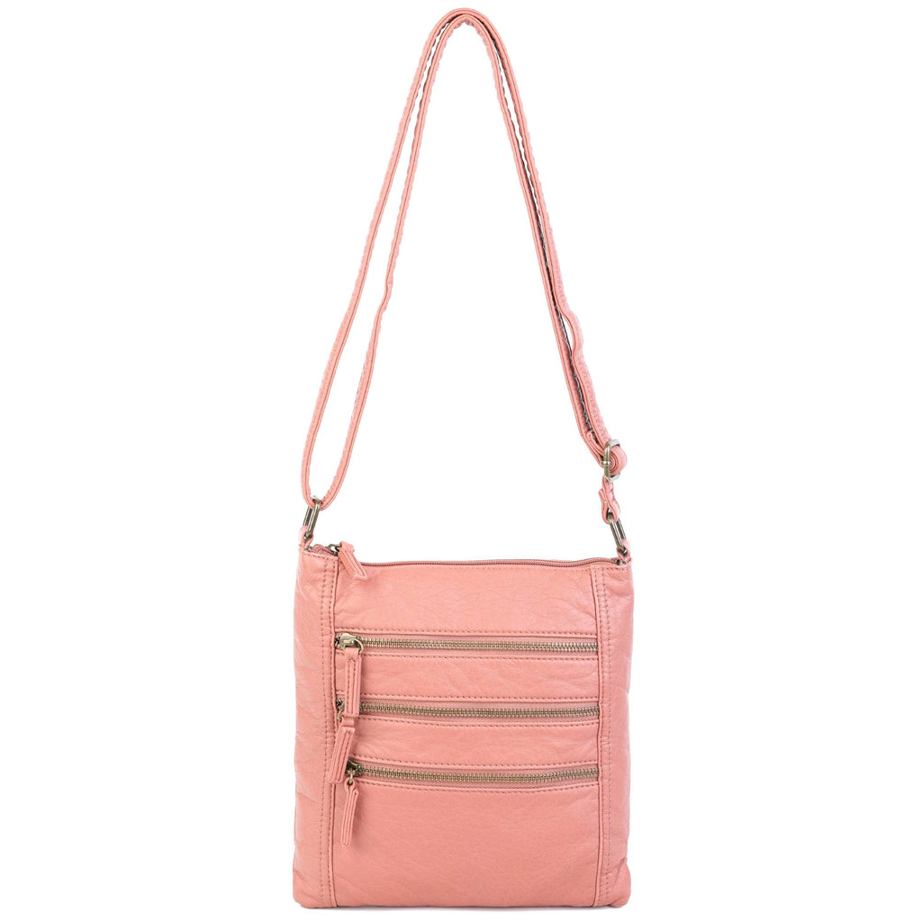 The Camile Three Zip Crossbody - Peach - Ampere Creations
