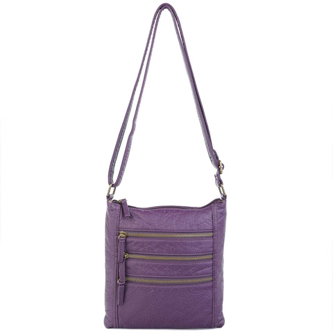 The Camile Three Zip Crossbody - Purple - Ampere Creations
