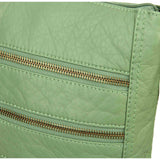 The Camile Three Zip Crossbody - Seafoam Green - Ampere Creations
