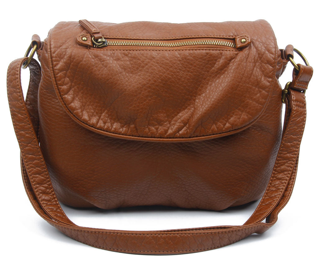The Large Bonnie Saddle Crossbody - Brown - Ampere Creations