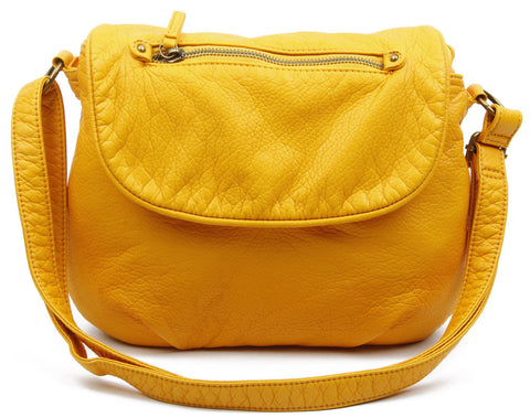 The Large Bonnie Saddle Crossbody - Honey Mustard