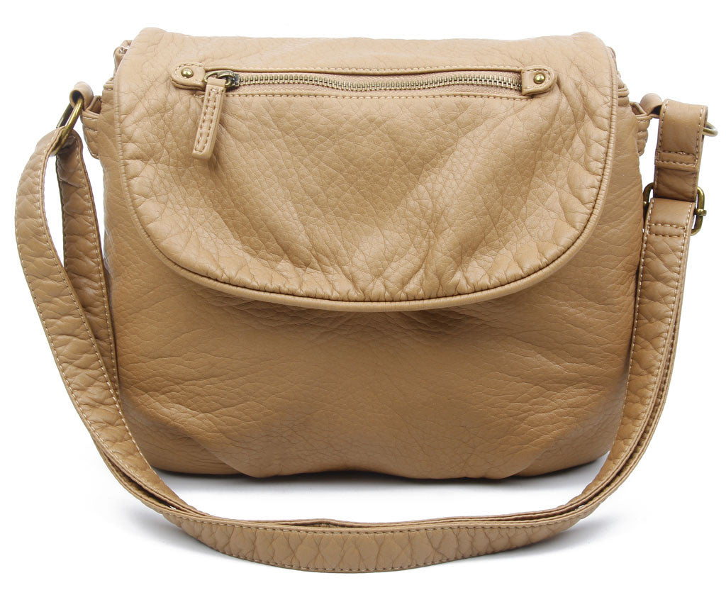 The Large Bonnie Saddle Crossbody - Sand