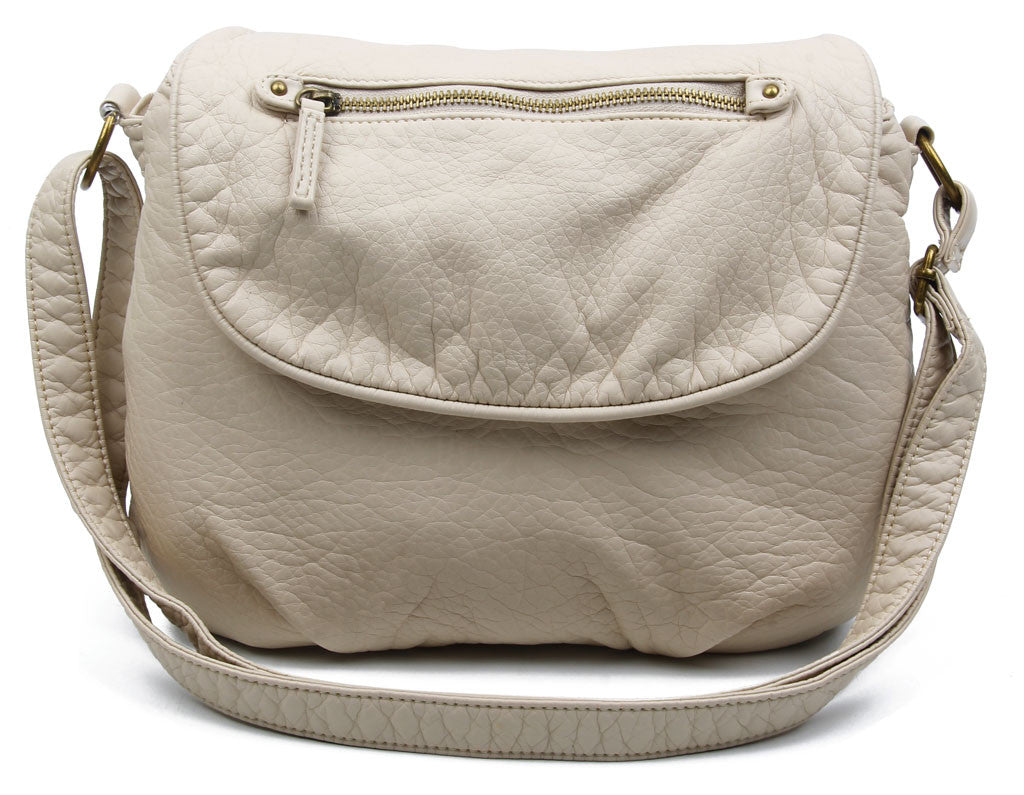 The Large Bonnie Saddle Crossbody - Taupe - Ampere Creations