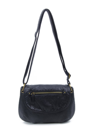 The Small Bonnie Saddle Crossbody - Black