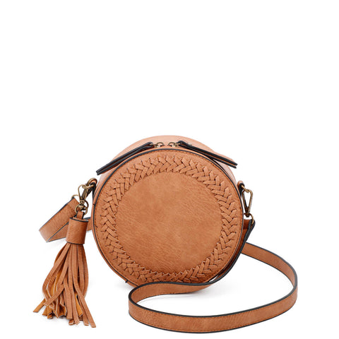 Suzie Round Crossbody - Light Brown - Ampere Creations