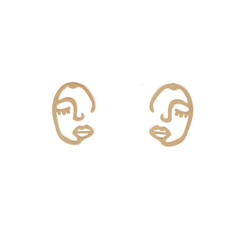Me and Moi Half Face Gold Faux Earrings