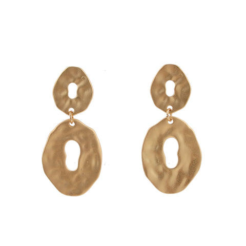 Melted Gold Round Drop Earrings