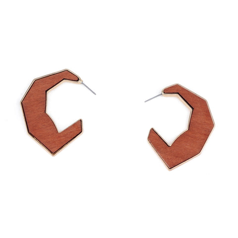 Half Moon Wood Acrylic Wood Hoop Earrings