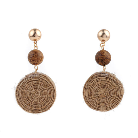 Round Jute Pendant Wooden Beads Earrings